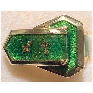 14KT Yellow Gold Belt Buckle Green Enamel Ring